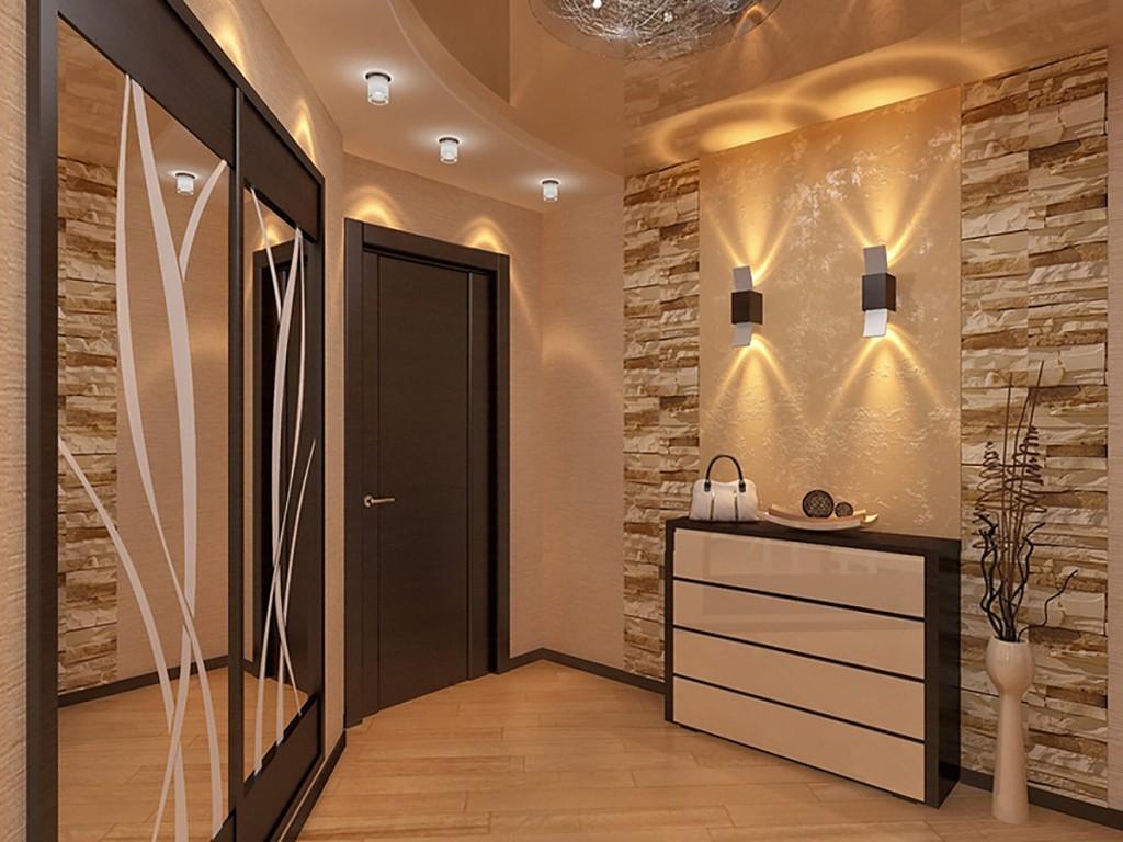 Дизайн прихожей с различными типами светильников
