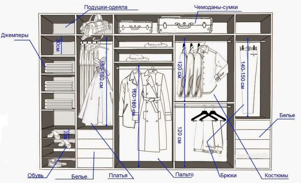 Схема линейного гардероба с размерами