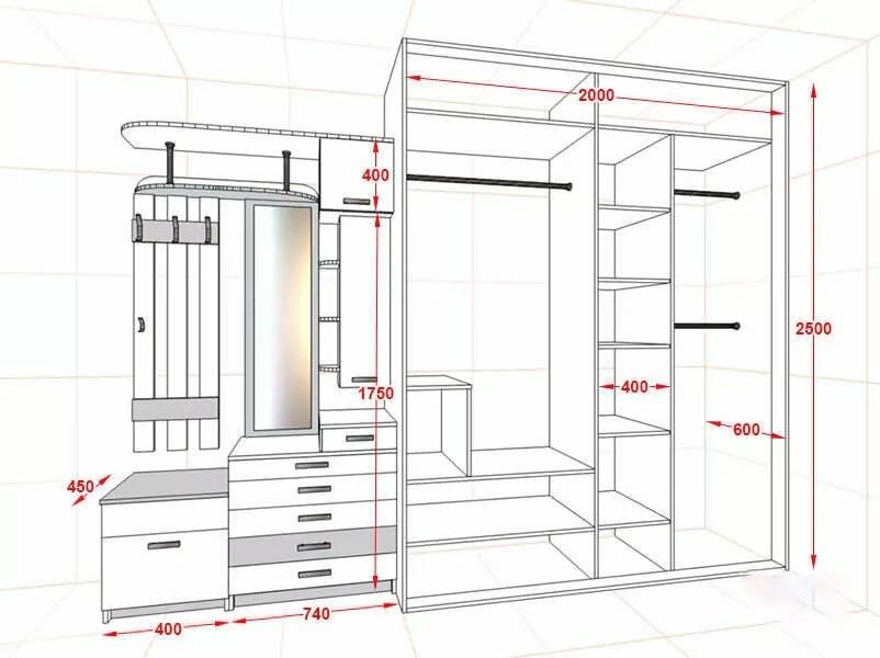 Чертеж встроенного шкафа-купе в прихожую комнату