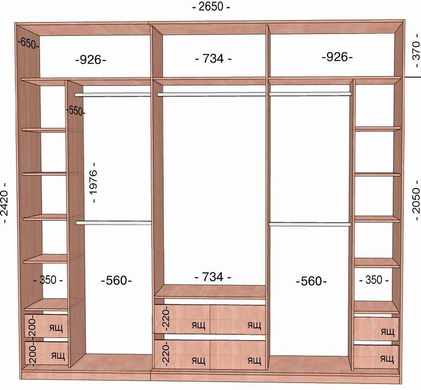 Чертеж встроенного шкафа в прихожую с размерами