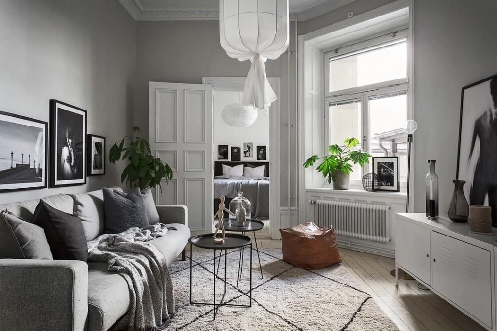 Дизайн гостиной в сталинке в серых тонах