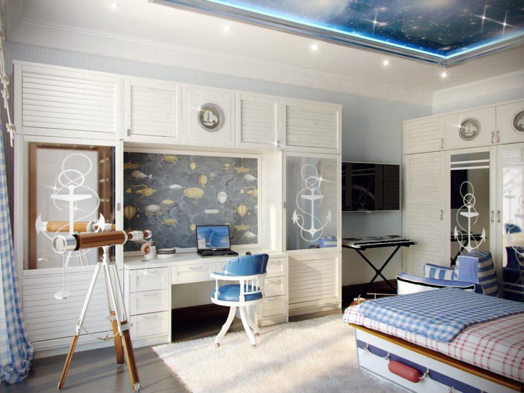 Серые акценты в детской комнате морского стиля