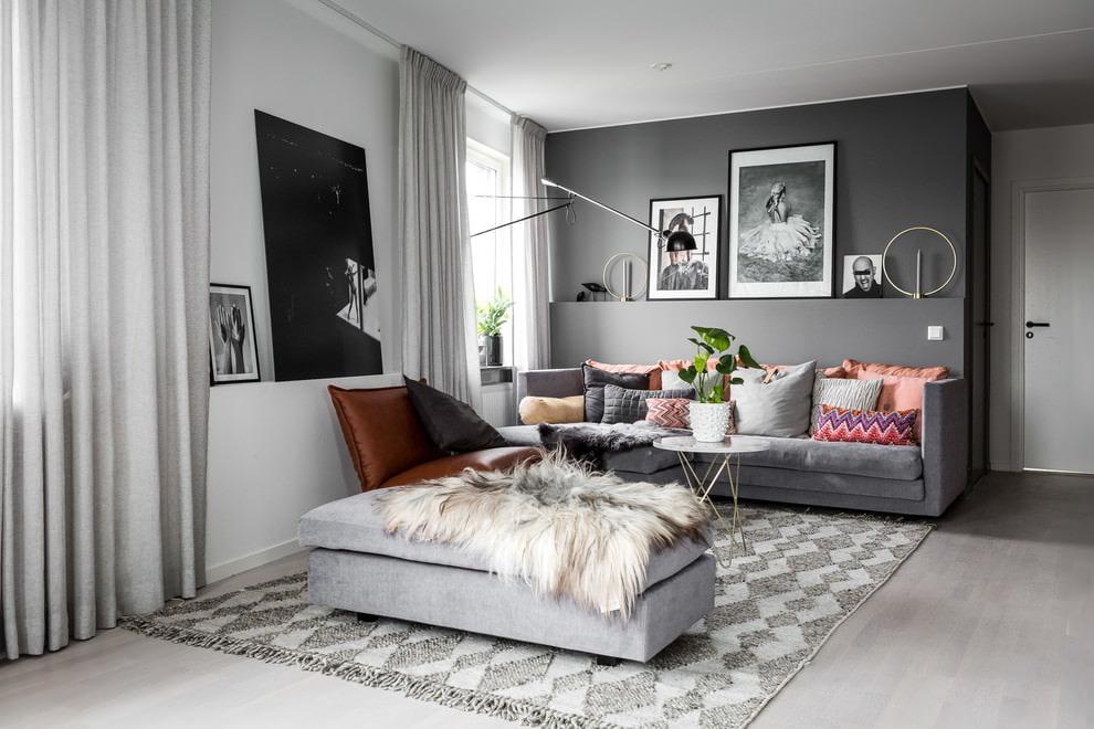 Все оттенки серого цвета в интерьере гостиной комнаты