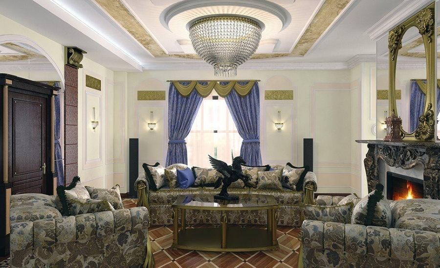 Просторная гостиная в стиле ампир с мебелью серого цвета