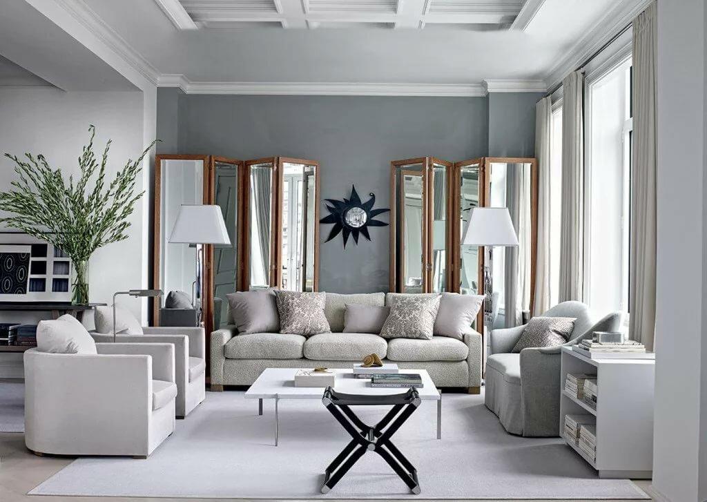 Декор гостиной комнаты в стиле арт деко с обоями серого цвета