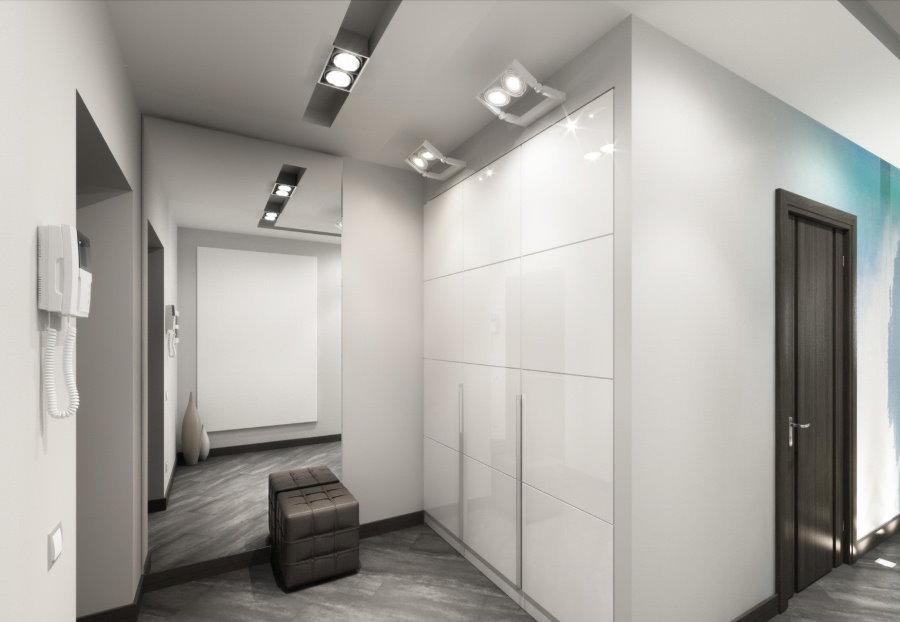 Минимализм в интерьере прихожей со встроенной мебелью