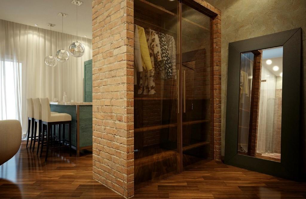 Встроенный шкаф в стиле лофт в прихожей комнате