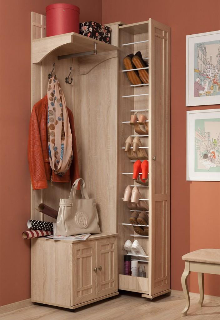 Угловой шкаф с выдвижной обувницей