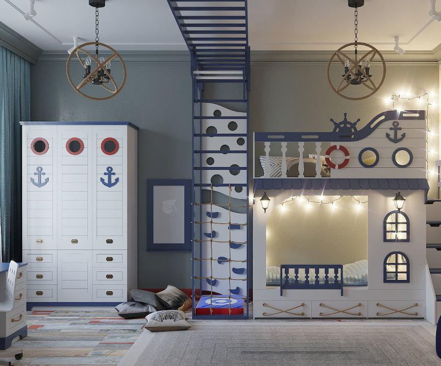 Меблировка детской комнаты в морском стиле