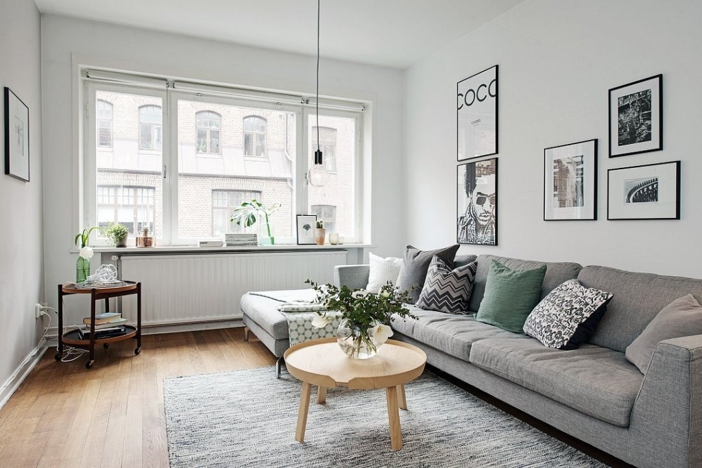 Интерьер компактной гостиной в скандинавском стиле