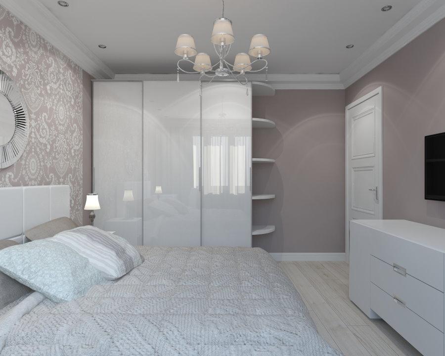 Белый шкаф в углу спальной комнаты