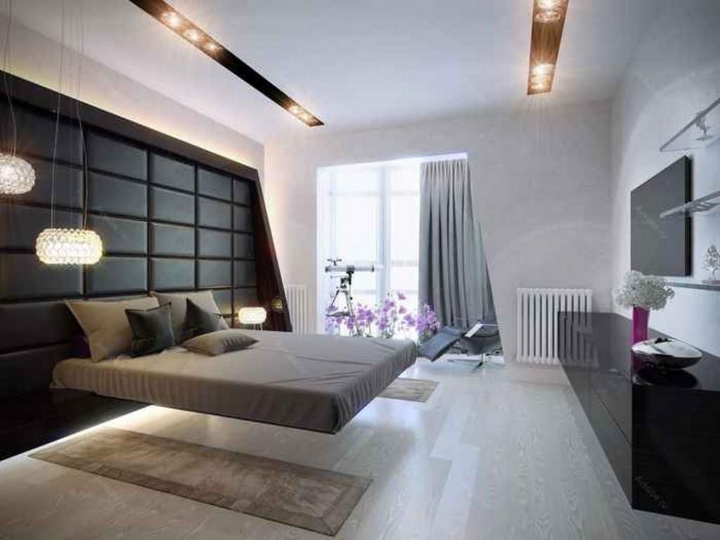 Подвесная кровать в спальной комнате стиля хай-тек