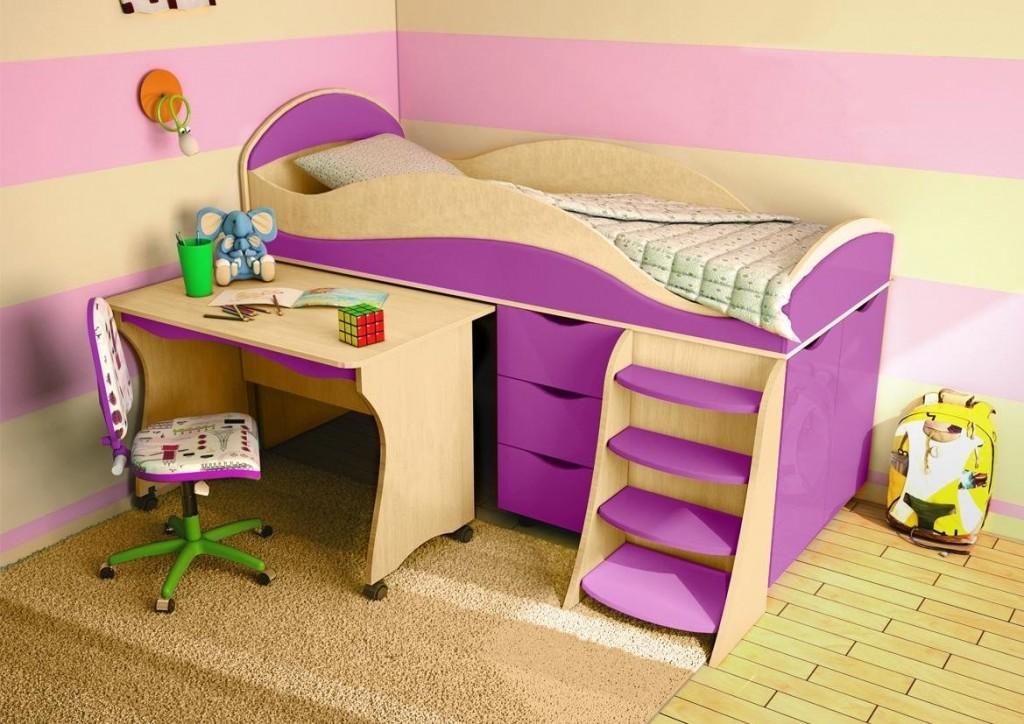 Высокая кровать со столом для девочки дошкольного возраста