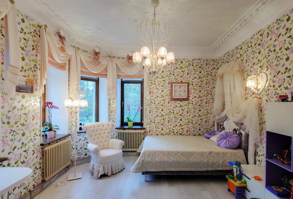 Освещение детской спальни в стиле прованса
