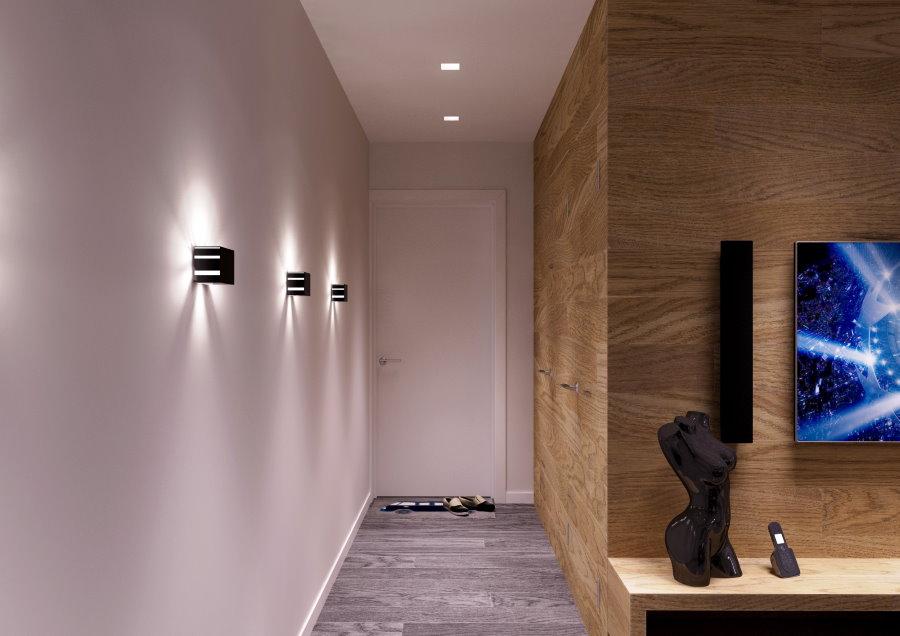 Настенные светильники в прихожей стиля минимализма