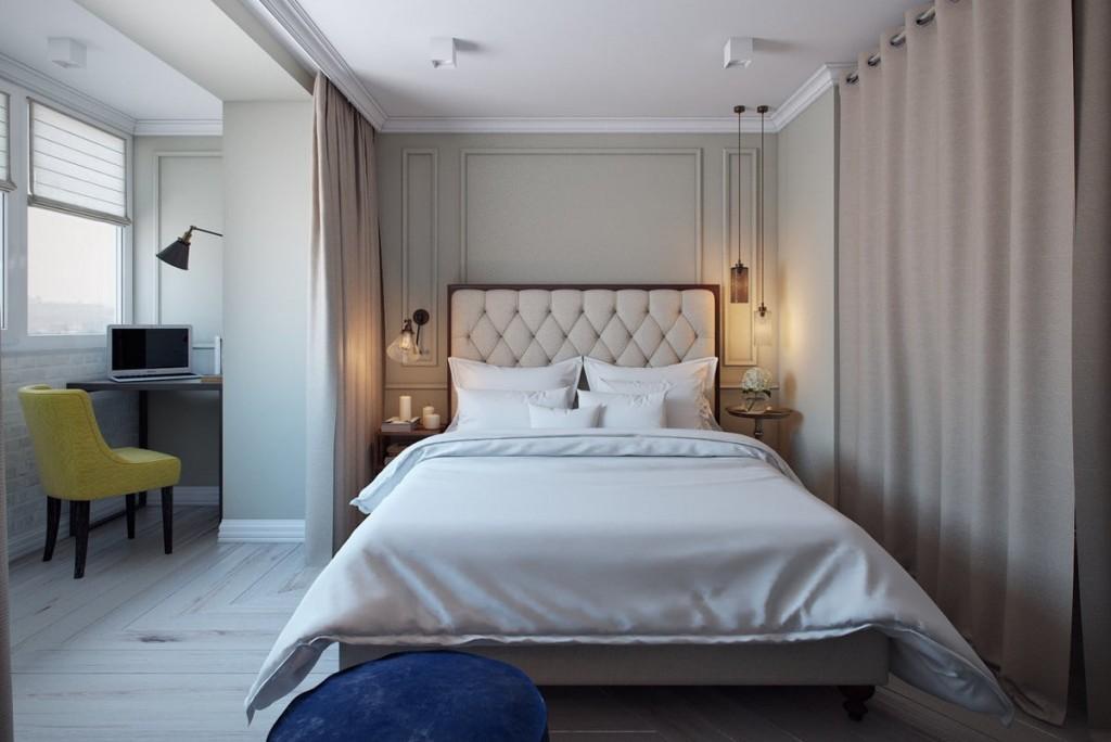 Отделка стен в спальне с присоединенным балконом
