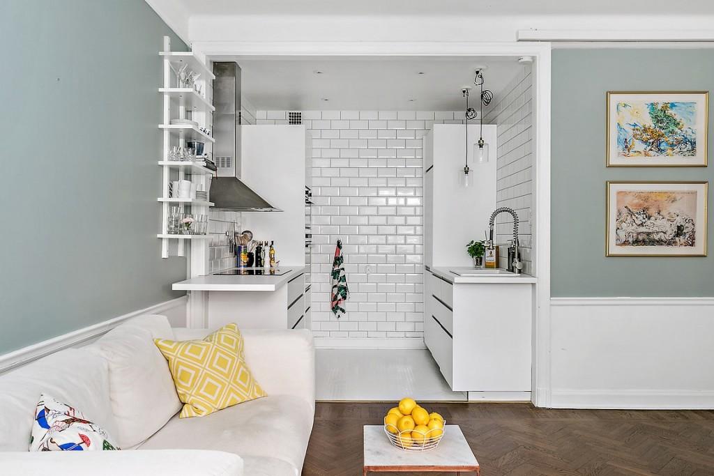 Плитка кабанчик на стене кухонной зоны квартиры-студии