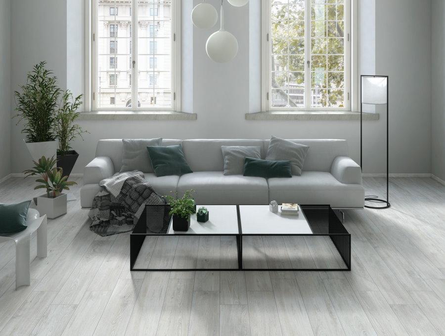 Гостиная комната с ламинатом серого оттенка