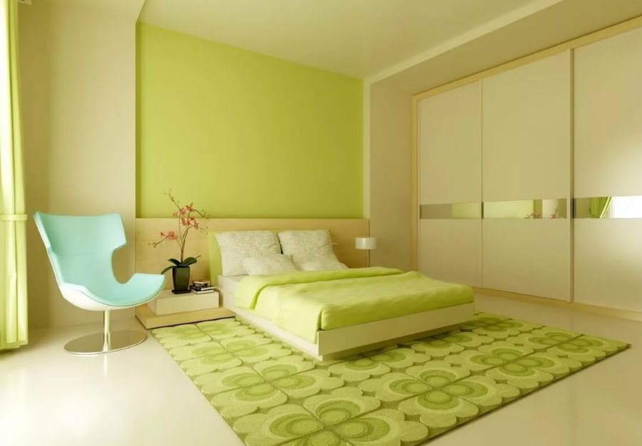 Окраска стен спальни в зеленый цвет
