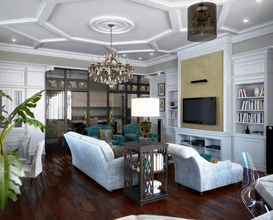 Белая мебель на темном полу в квартире