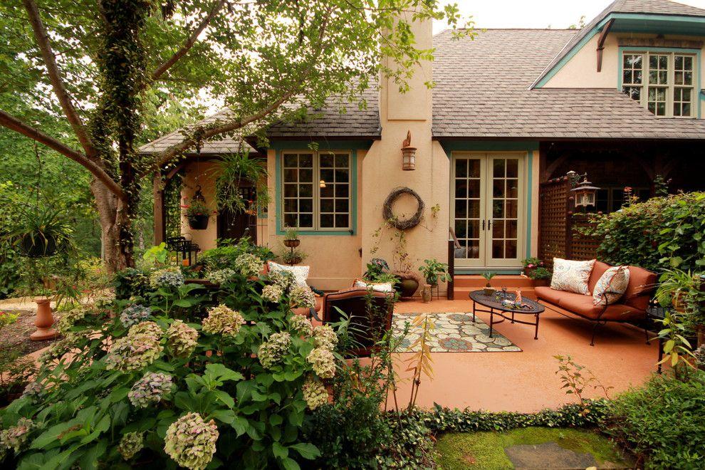 Куст метельчатой гортензии во внутреннем дворике на даче