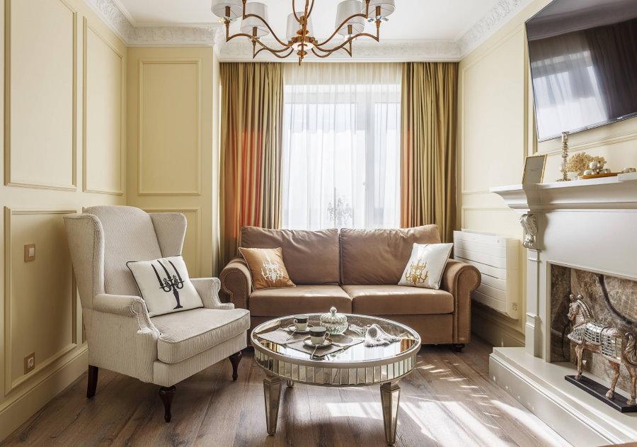 Расстановка мебели в гостиной площадью 15 кв м с камином