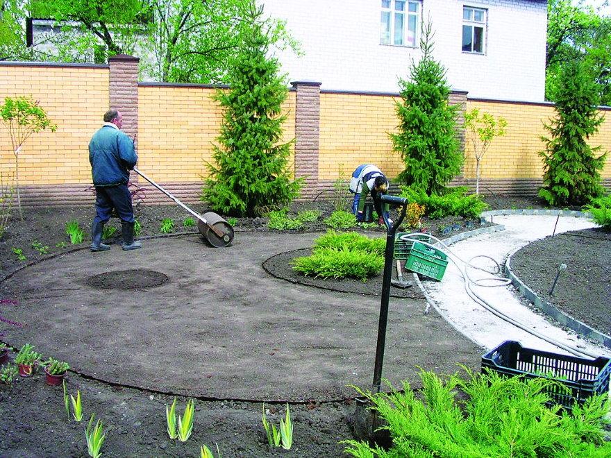 Уплотнение земли на площадке под газон