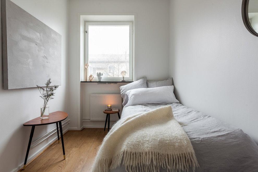 Оформление узкой спальни в стиле сканди