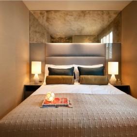 Освещение узкой спальни в стиле минмализм