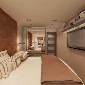 Дизайн маленькой спальни в коричневых тонах