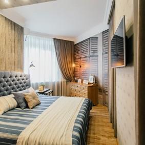 Интерьер спальной комнаты изогнутой формы