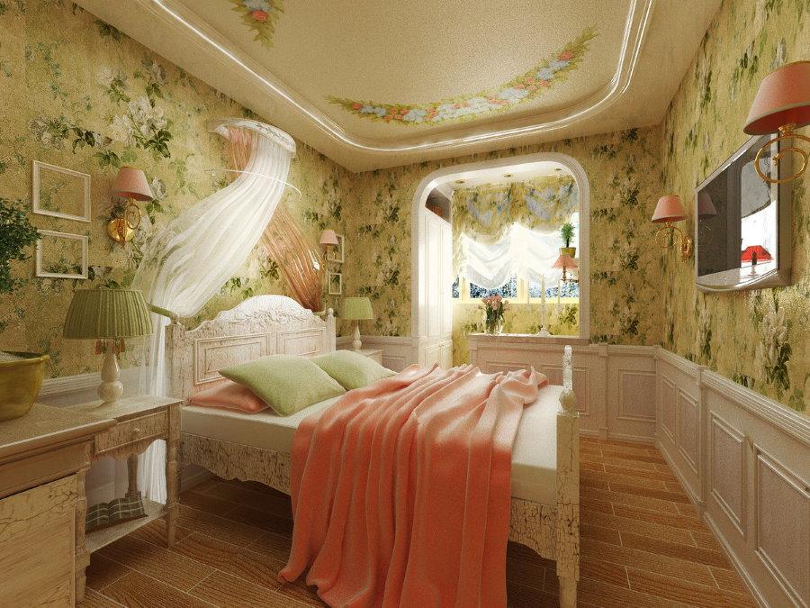 Красивые обои в спальне прованского стиля