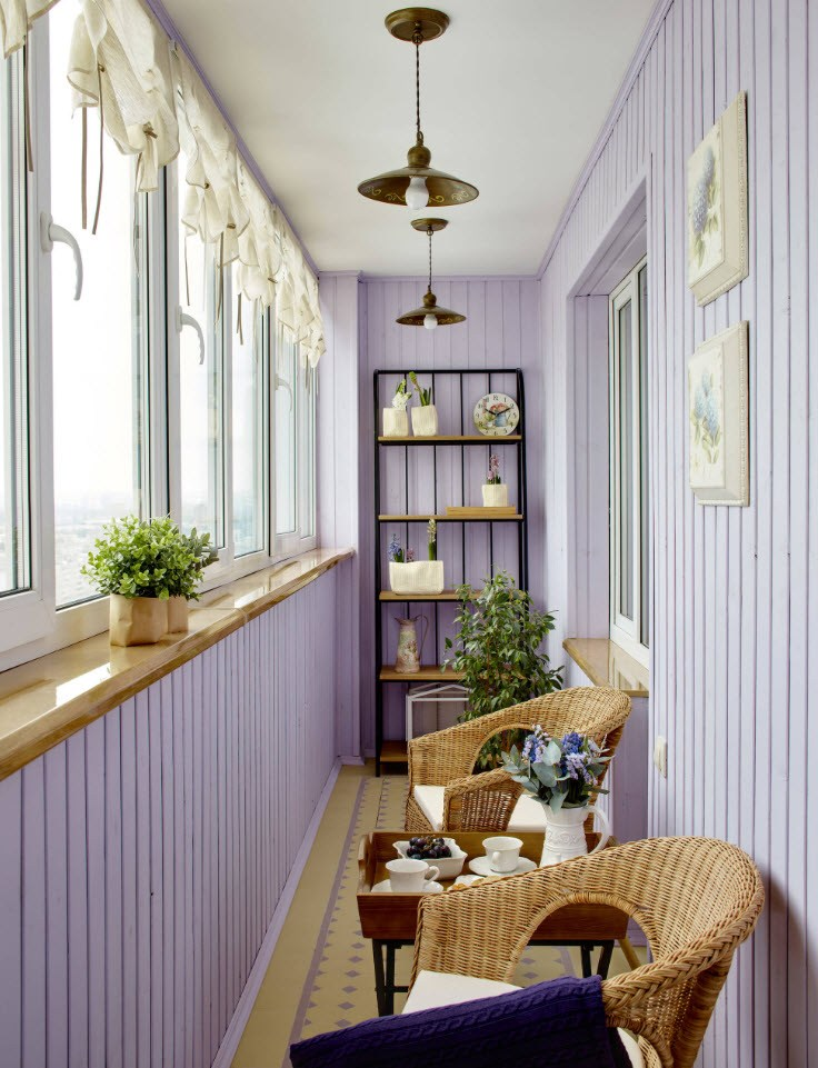 Отделка вагонкой балкона в стиле прованса