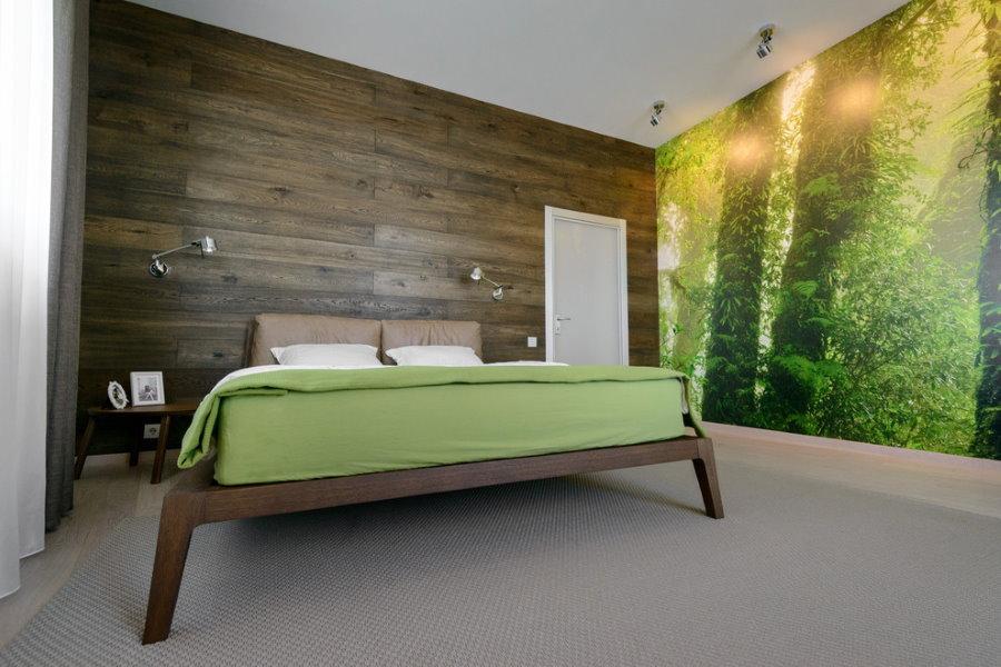 Фотообои в спальне с деревянной обшивкой