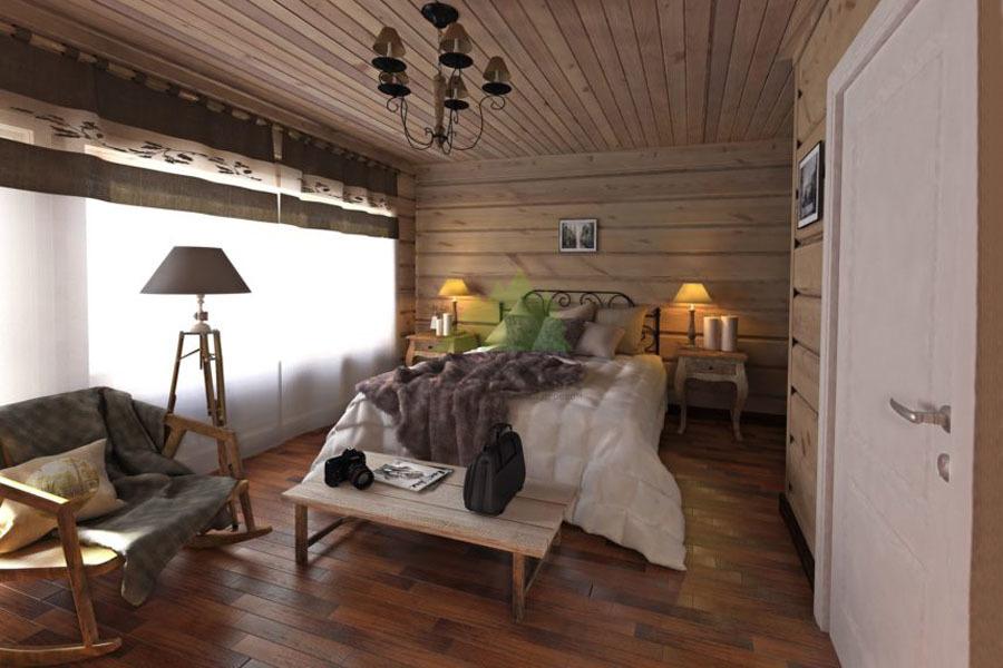 Натуральная вагонка в деревенском стиле спальни