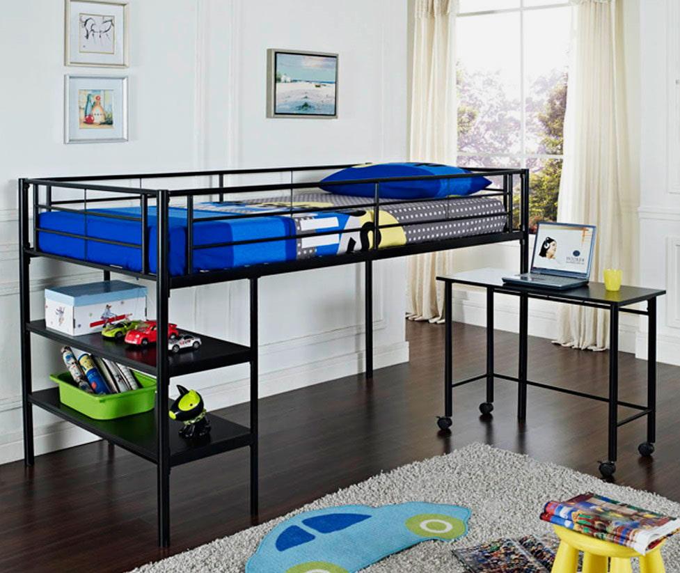 Детская металлическая кровать со столом на колесиках