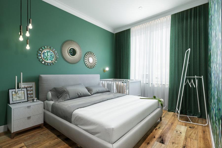 Темно-зеленый цвет в дизайне спальни