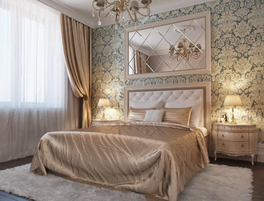 Прямоугольное зеркало над спинкой кровати