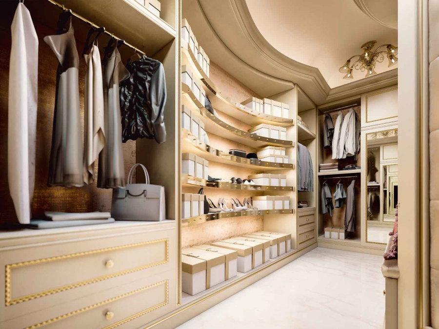 Интерьер гардеробной в стиле классики
