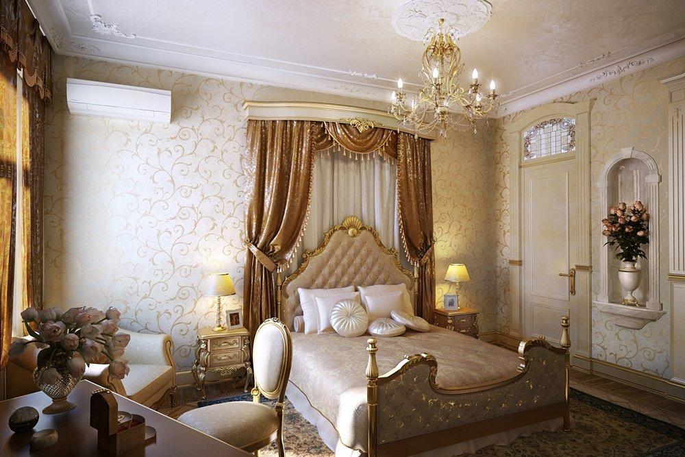 Роскошная кровать с балдахином в классическом стиле