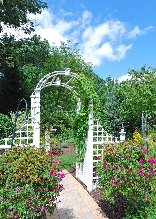 Зонирование белой аркой садового участка