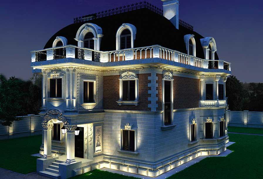 Красивая архитектурная подсветка фасада загородного дома