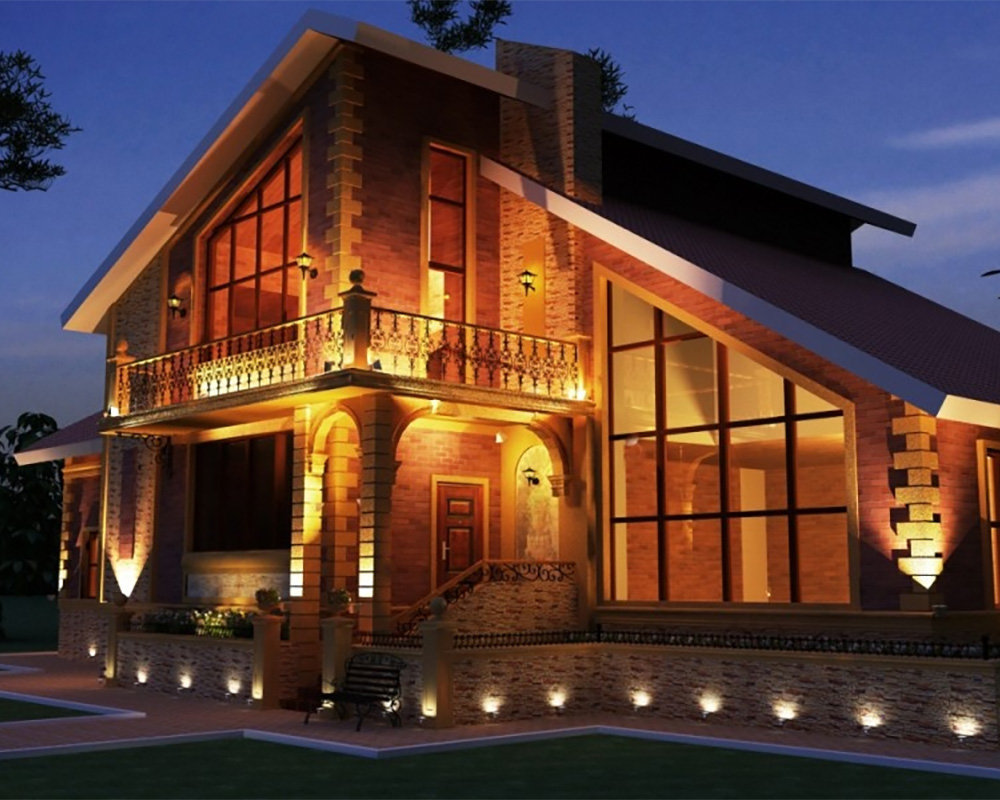 Мягкая подсветка фасада частного дома