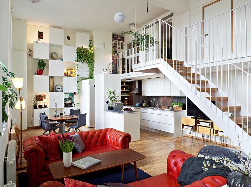 Интерьер двухэтажной квартиры в стиле авангарда
