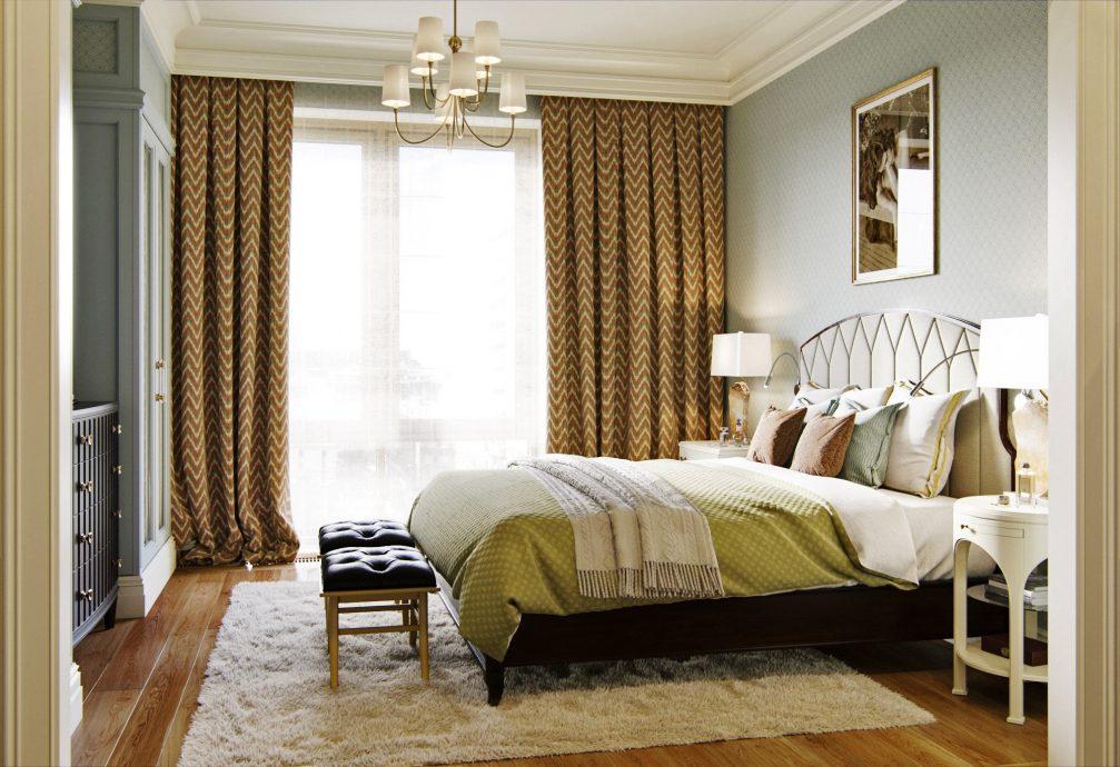 Багетный карниз во всю стену спальни