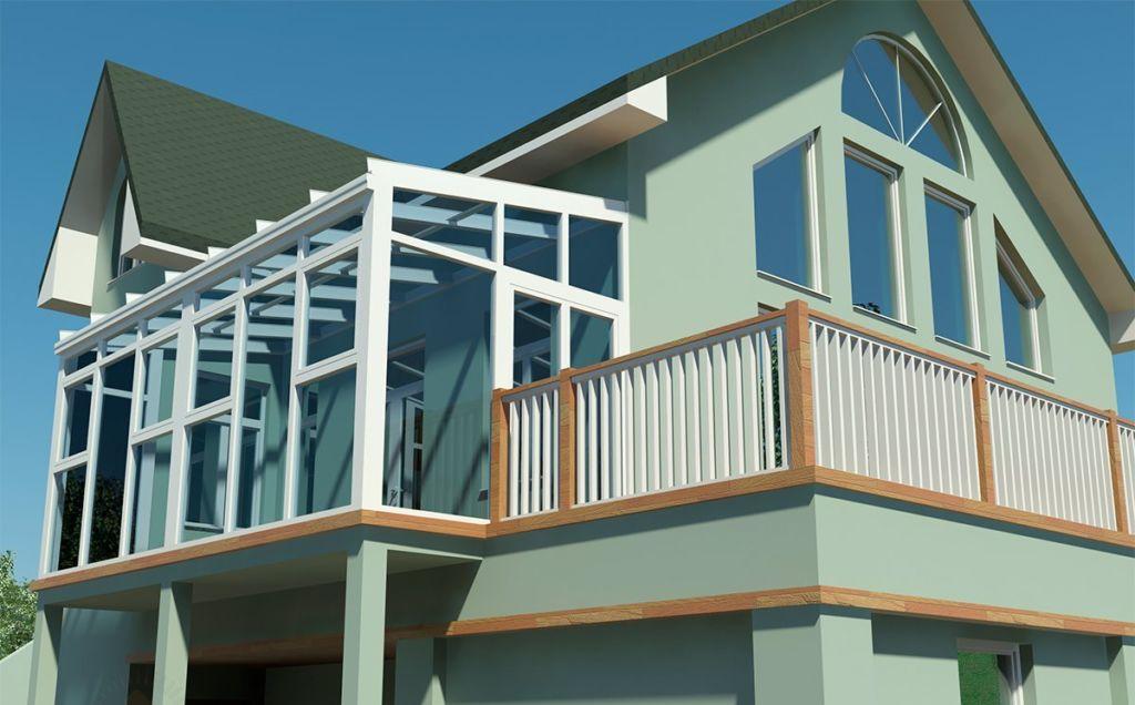 Фасад частного дома с двумя балконами