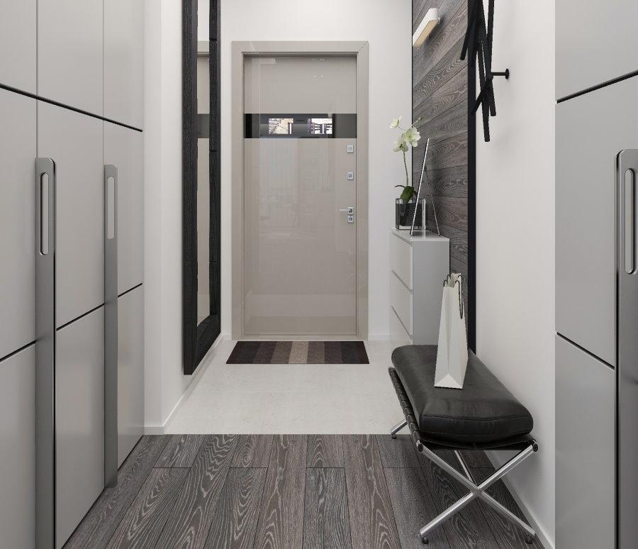 Дизайн коридора в стиле хай-тек с банкеткой
