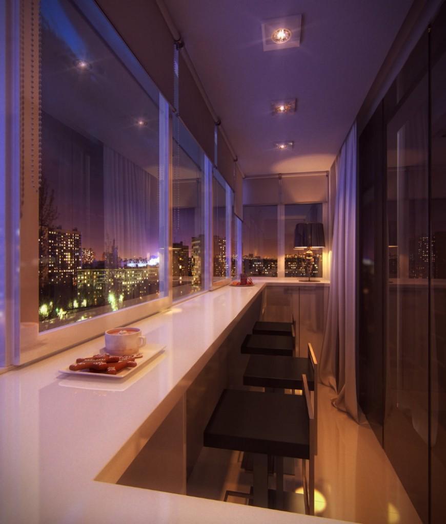 Освещение балкона с выносом среднего размера