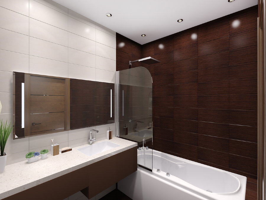 Выделение акцентной стены ванной коричневой плиткой