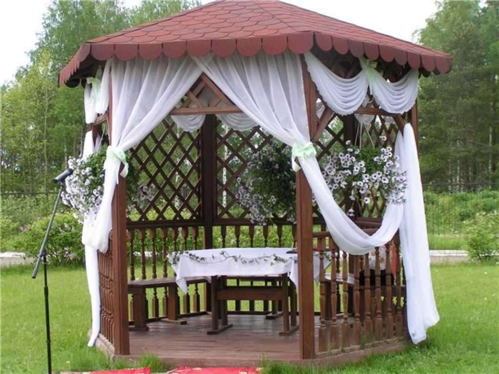 Как украсить беседку на свадьбу фото